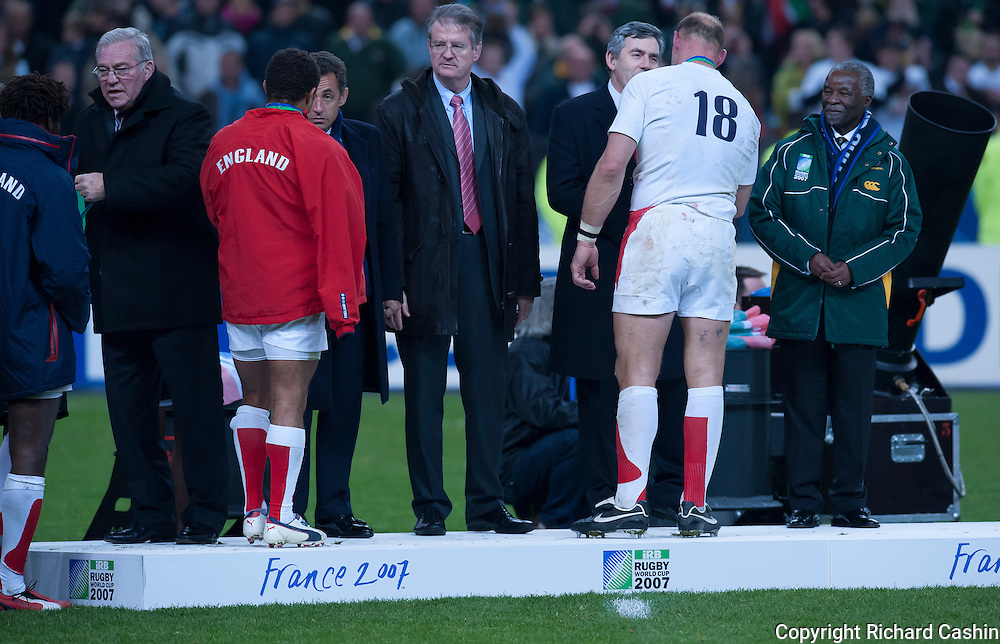 Lawrence Dallaglio gets his runners up medal and meets Bristish Prime Minister Gordon Brown after he 2007 Rugby World Cup Final at Stade de France in Paris, France