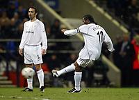 Photo. Aidan Ellis.<br />Bolton Wanderers v Aston Villa.<br />Carling Cup Semi Final 1st Leg.<br />21/01/2004<br />Bolton's Jay-Jay Okocha scores from a free kick