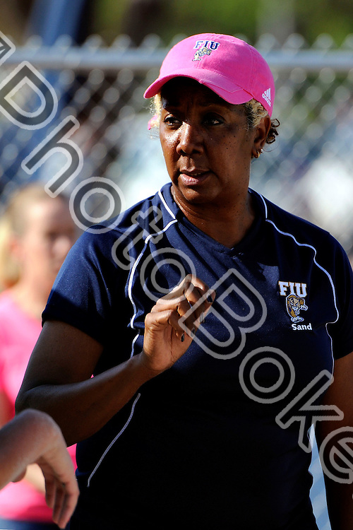 2013 March 23 - FIU's head coach Rita Buck-Crockett..Florida International Univeristy defeated Webber International, 4-1 in two sets, at the FIU Sand Volleyball Complex, Miami, Florida. (Photo by: www.photobokeh.com / Alex J. Hernandez) This image is copyright PhotoBokeh.com and may not be reproduced or retransmitted without express written consent of PhotoBokeh.com. ©2013 PhotoBokeh.com - All Rights Reserved
