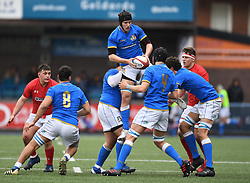 Wales U18s v Italy U18s<br /> Photographer Mike Jones/Replay Images<br /> <br /> Wales U18s v Italy U18s<br /> Six Nations, Sunday 8th April 2018, <br /> Cardiff Arms Park, Cardiff, <br /> <br /> World Copyright © Replay Images . All rights reserved. info@replayimages.co.uk - http://replayimages.co.uk