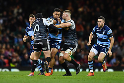 27th April 2019 , Principality Stadium , Cardiff, Wales ; Guinness pro 14's, Round 21, Cardiff Blues Vs Ospreys ; Willis Halaholo of Cardiff Blues is tackled by Sam Davies of Ospreys<br /> <br /> Credit :  Craig Thomas/Replay Images