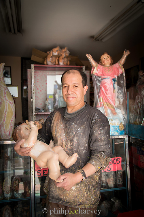 A portrait of a Religious artefact repairman, Quito, Ecuador, South America