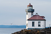 Lime Kiln Point State Park, San Juan Island, Washington, USA. Lime Kiln Lighthouse first shone in 1914, the last major light established in Washington. The name derived from lime kilns built nearby in the 1860s. The Coast Guard automated Lime Kiln Lighthouse in 1962 to turn on at dusk and off during day. Sitting on rocky shoreline at a height of 55 feet on Haro Strait, the beacon is visible for 17 miles.