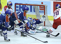 05.03.2013, Dom Sportova, Zagreb, CRO, EBEL, KHL Medvescak Zagreb vs EC Red Bull Salzburg, Playoff best of seven, 5. Runde, im Bild Patrick Obrist, Dennis Bozic, Michael Ouzas. // during the Erste Bank Icehockey League playoff best of seven 3th round match between KHL Medvescak Zagreb and EC Red Bull Salzburg at the Dom Sportova, Zagreb, Croatia on 2013/03/05. EXPA Pictures © 2013, PhotoCredit: EXPA/ Pixsell/ Marko Lukunic..***** ATTENTION - for AUT, SLO, SUI, ITA, FRA only *****