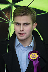 © Licensed to London News Pictures . 28/01/2017 . Stoke-on-Trent , UK . DAN JUKES , Nigel Farage's press spokesman , outside the UKIP shop . UKIP formally launch their campaign in the by-election in the constituency of Stoke-on-Trent Central , at their new campaign shop at 1 Piccadilly in Stoke , with candidate - and party leader - Paul Nuttall . The seat was vacated when Tristram Hunt resigned . Photo credit : Joel Goodman/LNP