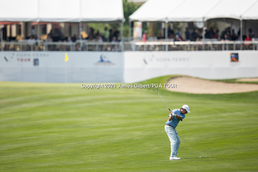 FARMINGTON, UT - AUGUST 08: Paul Haley II plays his shot from the 18th hole during the final round of the Utah Championship presented by Zions Bank at Oakridge Country Club on August 8, 2021 in Farmington, Utah. (Photo by James Gilbert/PGA TOUR via Getty Images)