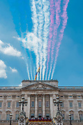 """The Red arrows trail smoke as the Royal Family gathers on the balcony for the flypast and cheers from the crowd - Trooping the Colour by the Irish Guards on the Queen's Birthday Parade. The Queen's Colour is """"Trooped"""" in front of Her Majesty The Queen and all the Royal Colonels.  His Royal Highness The Duke of Cambridge takes the Colonel's Review for the first time on Horse Guards Parade riding his horse Wellesley. The Irish Guards are led out by their famous wolfhound mascot Domhnall and more than one thousand Household Division soldiers perform their ceremonial duty. The Soldiers will parade in the traditional ceremonial uniforms of the Household Cavalry, Royal Horse Artillery, and Foot Guards. They are accompanied by the Household Division Bands & Corps of Drums. London 17th June 2017."""