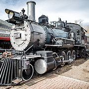 An historic steam train on display at the Colorado Railroad Museum in Golden, Colorado.