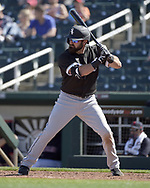 GOODYEAR, ARIZONA - MARCH 06:  Adam Eaton #12 of the Chicago White Sox bats against the Cleveland Indians during a spring training game on March 6, 2021 at Goodyear Ballpark in Goodyear Arizona.  (Photo by Ron Vesely) Subject:  Adam Eaton