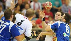 30.10.2010, Arena Nova, Wiener Neustadt, AUT, Euro Handball 2012 Qualifier, Austria vs Iceland, im Bild FOELSER Patrick, FP, AUT, SZILAGYI Viktor, FP, AUT, HALLGRIMSSON Asgeir Oern, FP, ISL, JAKOBSSON Sverre, FP, ISL, EXPA Pictures 2010, PhotoCredit: EXPA/ S. Trimmel