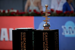 May 12, 2019 - Madrid, Spain - Mutua Madrid Open Masters final match trophy at Caja Magica in Madrid, Spain. Novak Djokovic beat Stefanos Tsitsipas. May 12, 2019. (Credit Image: © A. Ware/NurPhoto via ZUMA Press)