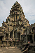 An ancient tower of Angkor Wat in the temple complex of Angkor Wat Siem Reap, Cambodia.  Angkor Wat is one of UNESCO's world heritage sites. It was built in the 12th century and is Cambodia's main tourist destination.  (photo by Andrew Aitchison / In pictures via Getty Images)