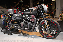 Francisco Ali Manen's 2007 custom 883 Sportster (upped to 1,250cc) Sportster in the Modified Harley-Davidson class of the AMD World Championship of Custom Bike Building in the Intermot Customized hall during the Intermot International Motorcycle Fair. Cologne, Germany. Sunday October 7, 2018. Photography ©2018 Michael Lichter.