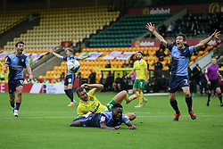 Wycombe Wanderers players appeal for a penalty as Fred Onyedinma of Wycombe Wanderers tangles with Ben Gibson of Norwich City - Mandatory by-line: Arron Gent/JMP - 24/10/2020 - FOOTBALL - Carrow Road - Norwich, England - Norwich City v Wycombe Wanderers - Sky Bet Championship
