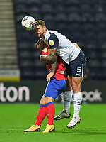 Preston North End's Patrick Bauer battles with Blackburn Rovers' Adam Armstrong<br /> <br /> Photographer Dave Howarth/CameraSport<br /> <br /> The EFL Sky Bet Championship - Preston North End v Blackburn Rovers - Tuesday 24th November 2020 - Deepdale - Preston<br /> <br /> World Copyright © 2020 CameraSport. All rights reserved. 43 Linden Ave. Countesthorpe. Leicester. England. LE8 5PG - Tel: +44 (0) 116 277 4147 - admin@camerasport.com - www.camerasport.com