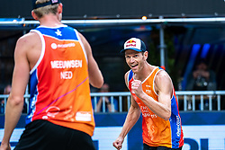 Alexander Brouwer in action during the last day of the beach volleyball event King of the Court at Jaarbeursplein on September 12, 2020 in Utrecht.