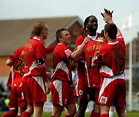 Photo: Jed Wee.<br />Hartlepool United v Bristol City. Coca Cola League 1. 15/04/2006.<br /><br />Bristol City celebrate with goalscorer Alex Russell.