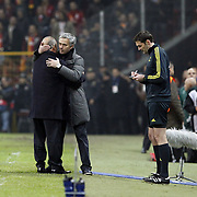Galatasaray's coach Fatih Terim (L) and Real Madrid's coach Jose Mourinho (C) during their UEFA Champions League Quarter-finals, Second leg match Galatasaray between Real Madrid at the TT Arena AliSamiYen Spor Kompleksi in Istanbul, Turkey on Tuesday 09 April 2013. Photo by Aykut AKICI/TURKPIX