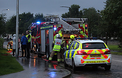 Lightning strike in Prestonpans 10 August 2019; Emergency services attend a Prestonspans house that was struck by lightning during a storm.<br /> <br /> (c) Chris McCluskie | Edinburgh Elite media