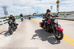 "Iron Lilies Leticia Cline (R) tests the all new 2017 Harley-Davidson Road King Special with its 107"" Milwaukee-Eight engine alongside Kristen Lassen on a 2014 Harley-Davidson Iron 883 Sportster in Tomoka State Park during Daytona Beach Bike Week. FL. USA. Tuesday, March 14, 2017. Photography ©2017 Michael Lichter."