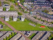 Nederland, Noord-Holland, Amsterdam, 07-05-2021; Amsterdam-Noord. Meeuwenlaan, zicht op Vogelbuurt. In de voorgrond stadsbuurtIJplein, met Hollandia-Kattenburgpad.<br /> Amsterdam North. Meeuwenlaan, view of Vogelbuurt. In the foreground city district IJplein, with Hollandia-Kattenburgpad.<br /> <br /> luchtfoto (toeslag op standaard tarieven);<br /> aerial photo (additional fee required)<br /> copyright © 2021 foto/photo Siebe Swart.