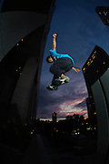 """Tokyo traceur """"Yutaro"""" practicing Parkour, Shinjuku, Tokyo, Japan, June 20, 2012. Parkour is a modern method of physical training, also known as freerunning. It was founded in France in the 1990s. There is a small group of around 50 parkour practitioners in Tokyo."""