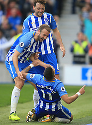 15 October 2017 -  Premier League - Brighton and Hove Albion v Everton - Anthony Knockaert of Brighton and Hove Albion celebrates scoring his goal with Glenn Murray and Dale Stephens - Photo: Marc Atkins/Offside