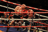 lightweight bout.<br /> Gavin Rees of Wales (l)  v Gary Buckland of Wales. 'The second coming'  boxing event at the Motorpoint Arena in Cardiff, South Wales on Sat 17th May 2014. <br /> pic by Andrew Orchard, Andrew Orchard sports photography.