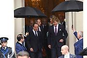 """François Hollande brengt een officieel bezoek aan Nederland. Hollande is in Nederland om de handelsbetrekkingen aan te halen.<br /> <br /> François Hollande brings an official visit to the Netherlands. Hollande is in the Netherlands for """"better""""Trading relations<br /> <br /> Op de foto/ On the photo:  Koning Willem-Alexander en koningin Maxima nemen afscheid van de Franse president François Hollande op Paleis Noordeinde.<br /> <br /> King Willem-Alexander and Queen Maxima say goodbye to French President Francois Hollande at Noordeinde Palace."""