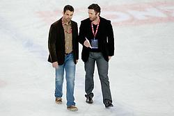 Dejan Varl and Klemen Mohoric, assistant coaches of HK Acroni Jesenice, during ice-hockey match between KHL Medvescak Zagreb and HK Acroni Jesenice in 39th Round of EBEL league, on Januar 8, 2012 at Arena Zagreb, Zagreb, Croatia. (Photo By Matic Klansek Velej / Sportida)