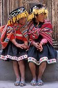 Two indigenous sisters, Pisaq, Cuzco region