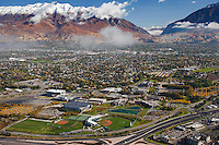Utah Valley University in the Fall with Timpanogos Mountain and Provo Canyon in the background.