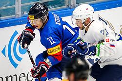 Kisung Kim of South Korea and Bostjan Golicic of Slovenia during ice hockey match between South Korea and Slovenia at IIHF World Championship DIV. I Group A Kazakhstan 2019, on April 30, 2019 in Barys Arena, Nur-Sultan, Kazakhstan. Photo by Matic Klansek Velej / Sportida