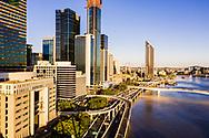 Aerial view of the Riverside Expressway, Brisbane city, Queensland, Australia
