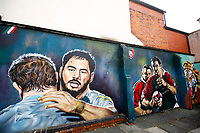 Rugby Union - 2019 / 2020 Gallagher Premiership - Leicester Tigers vs Sale Sharks<br /> <br /> Mural outside Welford Road showing  Manu Tuilagi of Sale Sharks who returns for the first time since leaving Tigers and Martin Johnson.<br /> <br /> COLORSPORT/LYNNE CAMERON