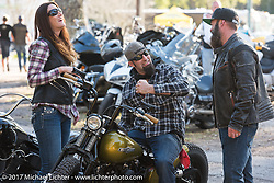 Scott Koonts (R), Sarah and Peter Ballard at the The Cycle Source bike show at the Broken Spoke Saloon during Daytona Beach Bike Week. FL. USA. Tuesday, March 14, 2017. Photography ©2017 Michael Lichter.