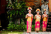Apr. 25 -- UBUD, BALI, INDONESIA:   Balinese girls in traditional dance outfits in the Ubud Royal Palace in Ubud. Ubud is considered Bali's artistic and cultural heart. About 20 miles from the beaches near Kuta, it attracts a slightly older crowd.  PHOTO BY JACK KURTZ