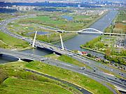 Nederland, Noord-Holland, Muiden, 07-05-2021; Amsterdam-Rijnkanaal met Brug Muiden in de voorgrond. Op het tweede plan de Uyllanderbrug naar IJburg.<br /> Amsterdam-Rhine Canal with Muiden Bridge in the foreground. On the second plan the Uyllanderbrug to IJburg.<br /> luchtfoto (toeslag op standaard tarieven);<br /> aerial photo (additional fee required)<br /> copyright © 2021 foto/photo Siebe Swart