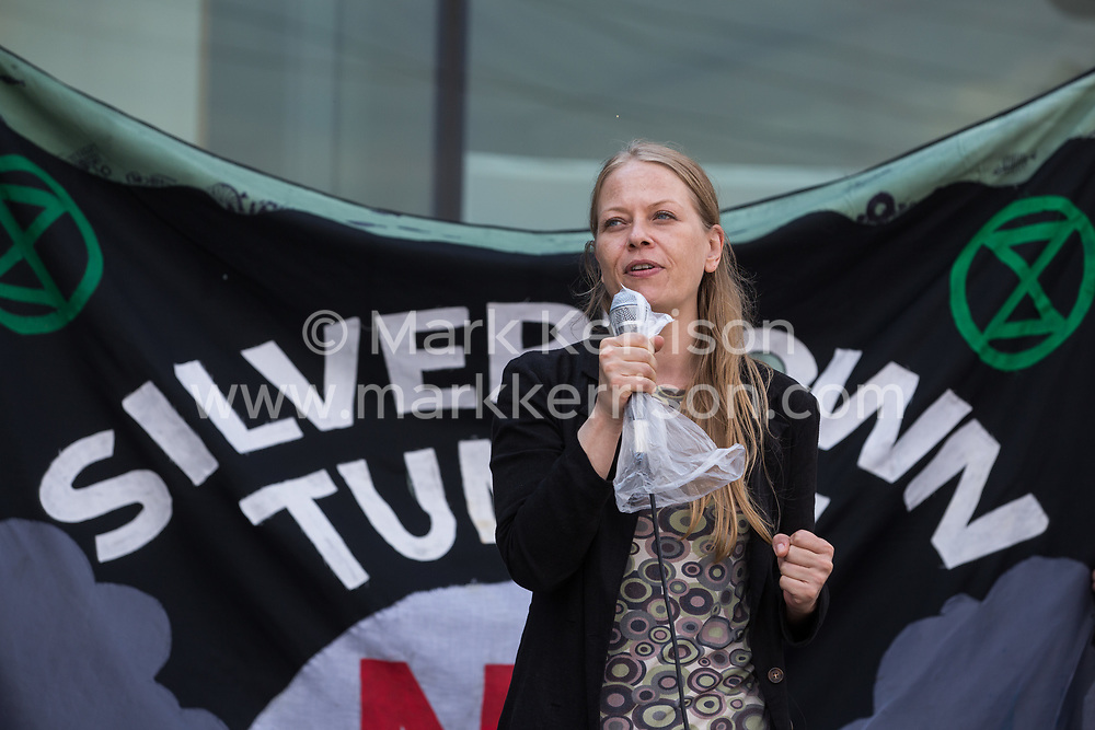 Sian Berry, co-leader of the Green Party, addresses environmental activists and local residents protesting against the construction of the Silvertown Tunnel on 5th June 2021 in London, United Kingdom. Campaigners opposed to the controversial new £2bn road link across the River Thames from the Tidal Basin Roundabout in Silvertown to Greenwich Peninsula argue that it is incompatible with the UK's climate change commitments because it will attract more traffic and so also increased congestion and air pollution to London's most polluted borough.