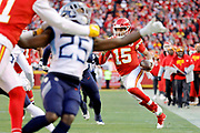 Kansas City Chiefs quarterback Patrick Mahomes (15) scrambles for a touchdown during an NFL, AFC Championship football game Sunday, Jan. 19, 2020, in Kansas City, MO. The Chiefs won 35-24 to advance to Super Bowl 54. (AP Photo/Colin E. Braley) Colin Eric Braley Photography
