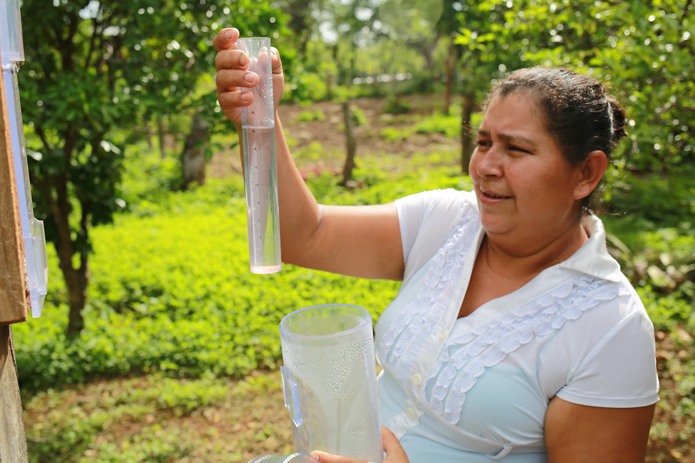 """Yohanna de Socorro Calderón Flores in Los Chilamates, Carazo, Nicaragua: """"before this project, we used to only farm the traditional produce, wheat, rice, beans, that was it, nothing more. Not now though, we the new methodologies that we've learned, through the trainings and workshops. On my farm we have level curves, wind barriers, we are diversified. CIEETS has taught us all of that. We've set up a seed bank, because of the high risk of losing seed in drought or flooding. We're planting yucca, bananas, plantains, fruit trees, citrus, pitahaya, lots of things. And now we have hygienic wells, covered up, nothing gets in them, with a pump. Before we had buckets and a rope, and stuff got into it. And, with the chickens, well, that is good for our own consumption, and to sell, we've made money from it""""."""