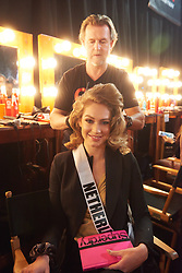 December 8, 2019, Atlanta, Georgia, USA: Sharon Pieksma, Miss Netherlands 2019 gets hair done by a stylist from Farouk Systems, the Makers of CHI & Biosilk backstage during The Miss Universe Competition telecast, held at Tyler Perry Studios. Contestants from around the globe have spent the last few weeks touring, filming, rehearsing and preparing to compete for the Miss Universe crown. (Credit Image: © Benjamin Askinas/Miss Universe Organization via ZUMA Wire)