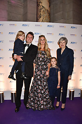 The Prime Minister Theresa May, Charlie & Lady Jubie Wigan and their children Aliena and Caius at The Sugarplum Dinner 2017 to benefit the type 1 diabetes charity JDRF held at the Victoria & Albert Museum, Cromwell Road, London England. 14 November 2017.<br /> Photo by Dominic O'Neill/SilverHub 0203 174 1069 sales@silverhubmedia.com
