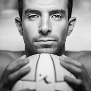 Professional AVP volleyball player Bill Kolinske poses for a portrait on November 6th, 2014 in Costa Mesa, CA.