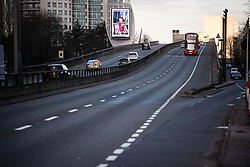 © Licensed to London News Pictures. 13/03/2020. London, UK. Light traffic on the A40 Westway heading in to central London the morning after PM Boris Johnson announced further measures to tackle Coronavirus. New cases of the COVID-19 strain of Coronavirus are being reported daily as the government outlines it's plans for delaying the outbreak. Photo credit: Ben Cawthra/LNP
