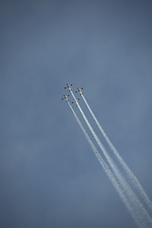 June 27, 2017 - Hatzerim, Israel - Two T-6 Texan II aircrafts take off for an aerobatic show at the prestigious IAF Flight Academy graduation ceremony at the Hatzerim Airbase in the Negev. (Credit Image: © Orit Ben-Ezzer via ZUMA Wire)