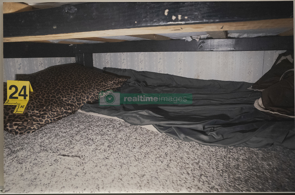 May 24, 2019 - Barron, WI, USA - United States - A photo of where Patterson kept Jayme under his bed at his house was displayed by the prosecution at the sentencing of Jake Patterson for the murder of James and Denise Closs and abduction of Jayme Closs at the Barron County Justice Center in Barron, Wis., on Friday, May 24, 2019.  ] RENEE JONES SCHNEIDER Â¥ renee.jones@startribune.com (Credit Image: © Renee Jones Schneider/Minneapolis Star Tribune via ZUMA Wire)