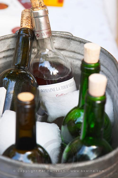 Domaine la Tour Vieille. Collioure. Roussillon. Ice bucket. France. Europe. Bottle.