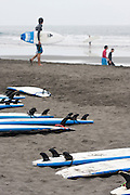 Beginners boards on the beach.