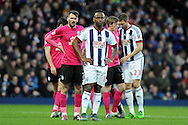 West Brom's Saido Berahino (c) looks on as he waits for a corner to be taken. The Emirates FA Cup, 4th round match, West Bromwich Albion v Peterborough Utd at the Hawthorns stadium in West Bromwich, Midlands on Saturday 30th January 2016. pic by Carl Robertson, Andrew Orchard sports photography.